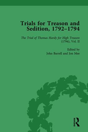 Trials for Treason and Sedition, 1792-1794, Part I Vol 3: 1st Edition (Hardback) book cover