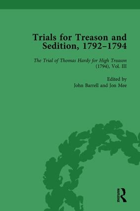 Trials for Treason and Sedition, 1792-1794, Part I Vol 4: 1st Edition (Hardback) book cover