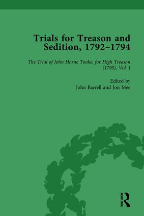 Trials for Treason and Sedition, 1792-1794, Part II vol 6: 1st Edition (Hardback) book cover