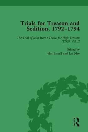 Trials for Treason and Sedition, 1792-1794, Part II vol 7: 1st Edition (Hardback) book cover