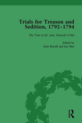 Trials for Treason and Sedition, 1792-1794, Part II vol 8: 1st Edition (Hardback) book cover