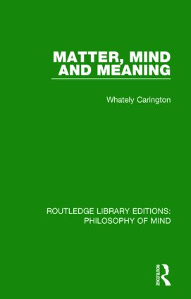 Matter, Mind and Meaning book cover