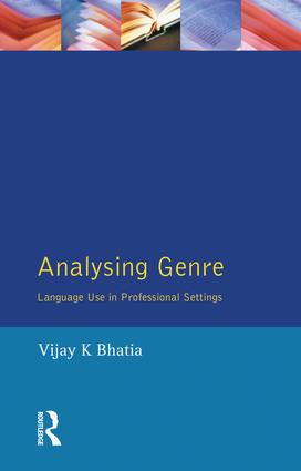 Analysing Genre: Language Use in Professional Settings book cover