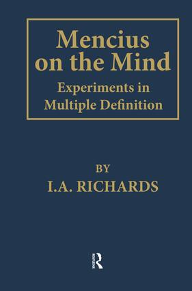Mencius on the Mind: Experiments in Multiple Definition, 1st Edition (Paperback) book cover