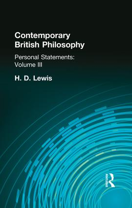 Contemporary British Philosophy: Personal Statements Third Series, 1st Edition (Paperback) book cover