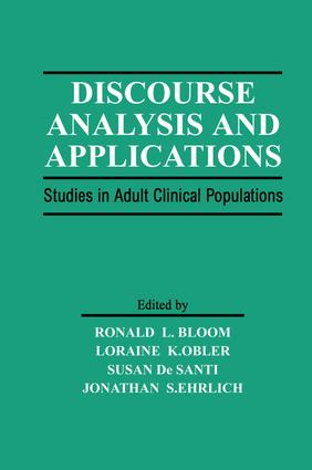 Discourse Analysis and Applications: Studies in Adult Clinical Populations (Hardback) book cover