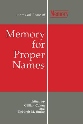 Memory for Proper Names: A Special Issue of Memory book cover