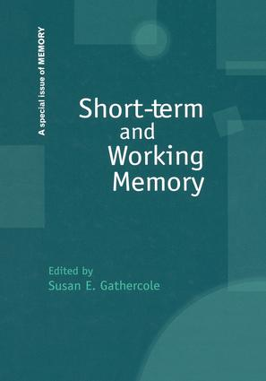 Short-term and Working Memory: A Special Issue of Memory book cover