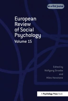 European Review of Social Psychology: Volume 15: 1st Edition (Paperback) book cover