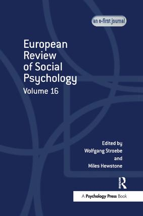 European Review of Social Psychology: Volume 16: 1st Edition (Paperback) book cover