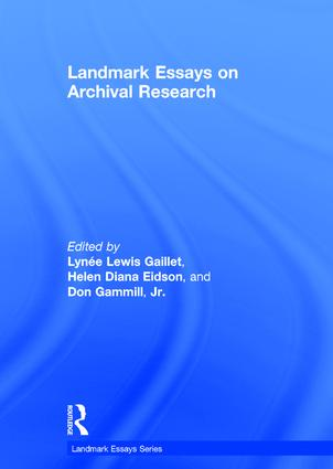 Landmark Essays on Archival Research book cover