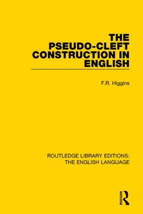 The Pseudo-Cleft Construction in English book cover
