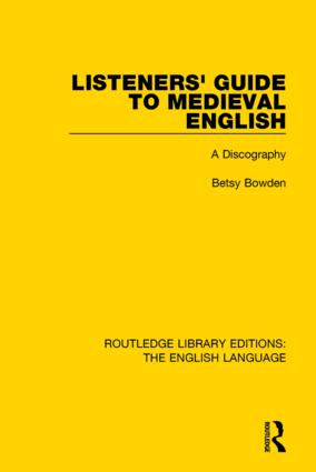 Listeners' Guide to Medieval English: A Discography, 1st Edition (Hardback) book cover