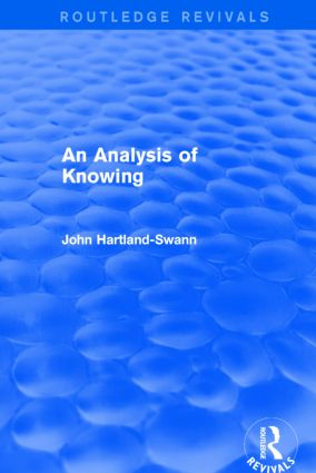 An Analysis of Knowing: 1st Edition (Paperback) book cover