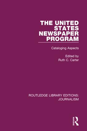 The United States Newspaper Program: Cataloging Aspects book cover
