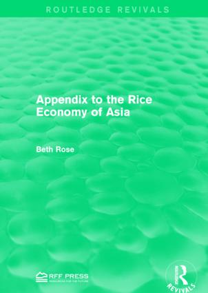 Appendix to the Rice Economy of Asia book cover