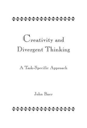 Creativity and Divergent Thinking: A Task-Specific Approach, 1st Edition (Paperback) book cover