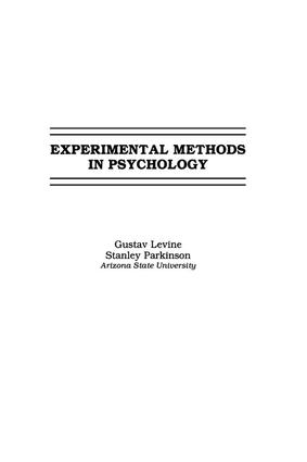 Experimental Methods in Psychology: 1st Edition (Paperback) book cover