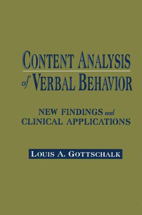 Content Analysis of Verbal Behavior: New Findings and Clinical Applications, 1st Edition (Paperback) book cover