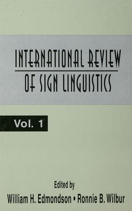 International Review of Sign Linguistics: Volume 1, 1st Edition (Paperback) book cover