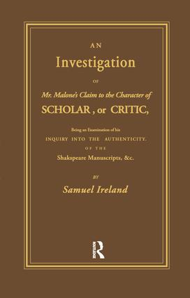 Investigation into Mr. Malone's Claim to Charter of Scholar: Volume 24, 1st Edition (Paperback) book cover