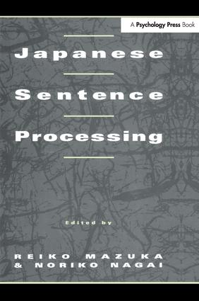 Japanese Sentence Processing: 1st Edition (Paperback) book cover