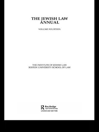 The Jewish Law Annual Volume 14 book cover