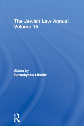 The Jewish Law Annual Volume 15: 1st Edition (Paperback) book cover