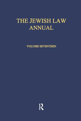 The Jewish Law Annual Volume 17: 1st Edition (Paperback) book cover