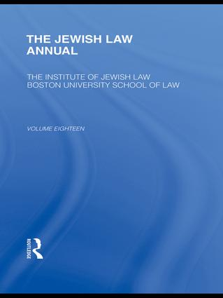 The Jewish Law Annual Volume 18 book cover