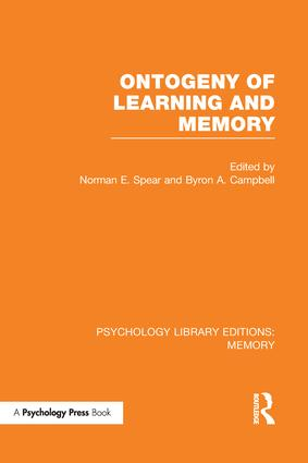 Ontogeny of Learning and Memory (PLE: Memory) book cover