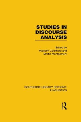 Studies in Discourse Analysis (RLE Linguistics B: Grammar): 1st Edition (Paperback) book cover