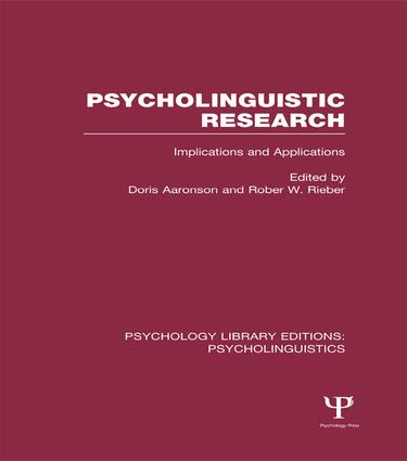 Psycholinguistic Research (PLE: Psycholinguistics)