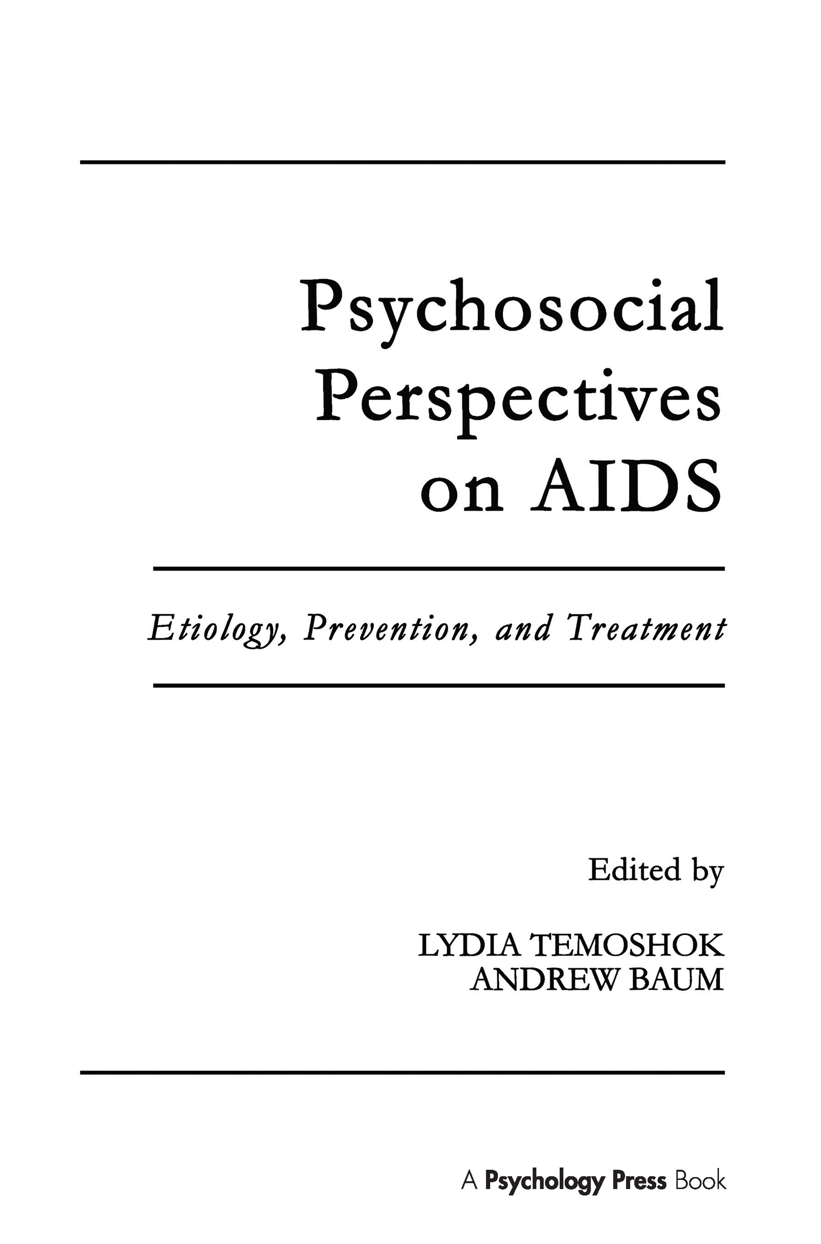 Psychosocial Perspectives on Aids: Etiology, Prevention and Treatment book cover