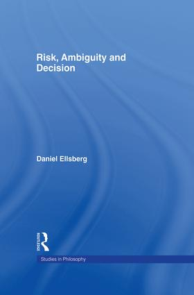 Risk, Ambiguity and Decision: 1st Edition (Hardback) book cover