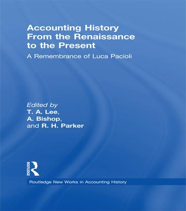 Accounting History from the Renaissance to the Present