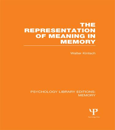 The Representation of Meaning in Memory (PLE: Memory) book cover