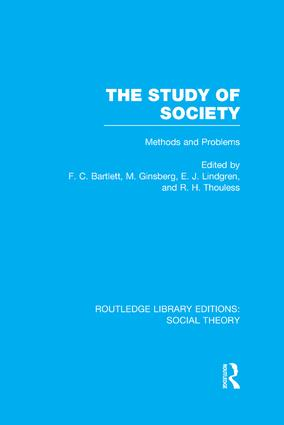 The Study of Society: Methods and Problems, 1st Edition (Paperback) book cover