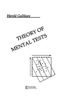 Theory of Mental Tests: 1st Edition (Paperback) book cover