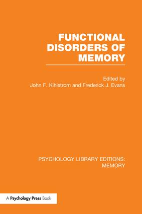 Functional Disorders of Memory (PLE: Memory): 1st Edition (Paperback) book cover