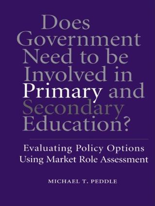 Does Government Need to be Involved in Primary and Secondary Education: Evaluating Policy Options Using Market Role Assessment, 1st Edition (Paperback) book cover