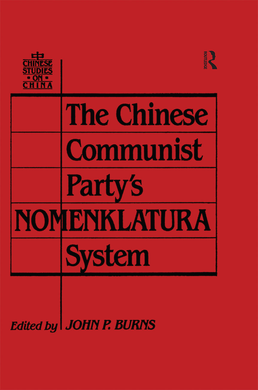 The Chinese Communist Party's Nomenklatura System book cover