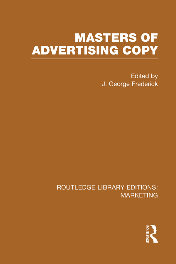 Masters of Advertising Copy (RLE Marketing) book cover