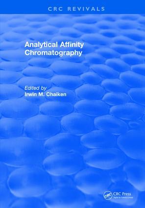 Analytical Affinity Chromatography: 1st Edition (Hardback) book cover