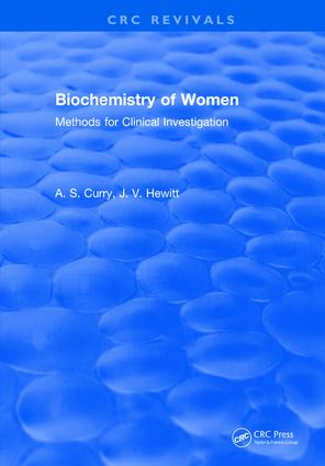Biochemistry of Women Methods: For Clinical Investigation, 1st Edition (Hardback) book cover