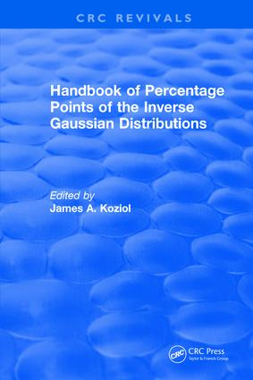 Handbook of Percentage Points of the Inverse Gaussian Distributions: 1st Edition (Hardback) book cover
