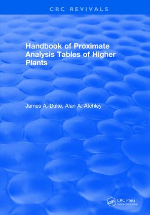 Handbook of Proximate Analysis Tables of Higher Plants: 1st Edition (Hardback) book cover
