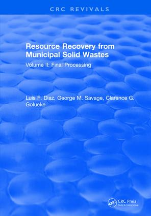 Resource Recovery From Municipal Solid Wastes: Volume II: Final Processing, 2nd Edition (Hardback) book cover