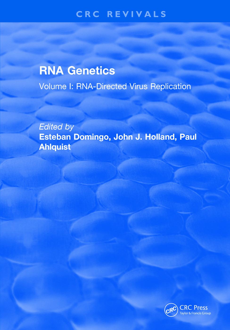 RNA Genetics: Volume I: RNA-Directed Virus Replication, 1st Edition (Hardback) book cover