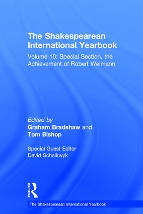 The Shakespearean International Yearbook: Volume 10: Special Section, the Achievement of Robert Weimann book cover